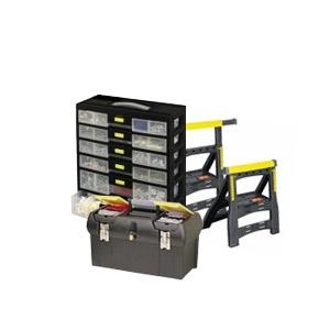 Boîte à outils, casiers à vis, tréteaux