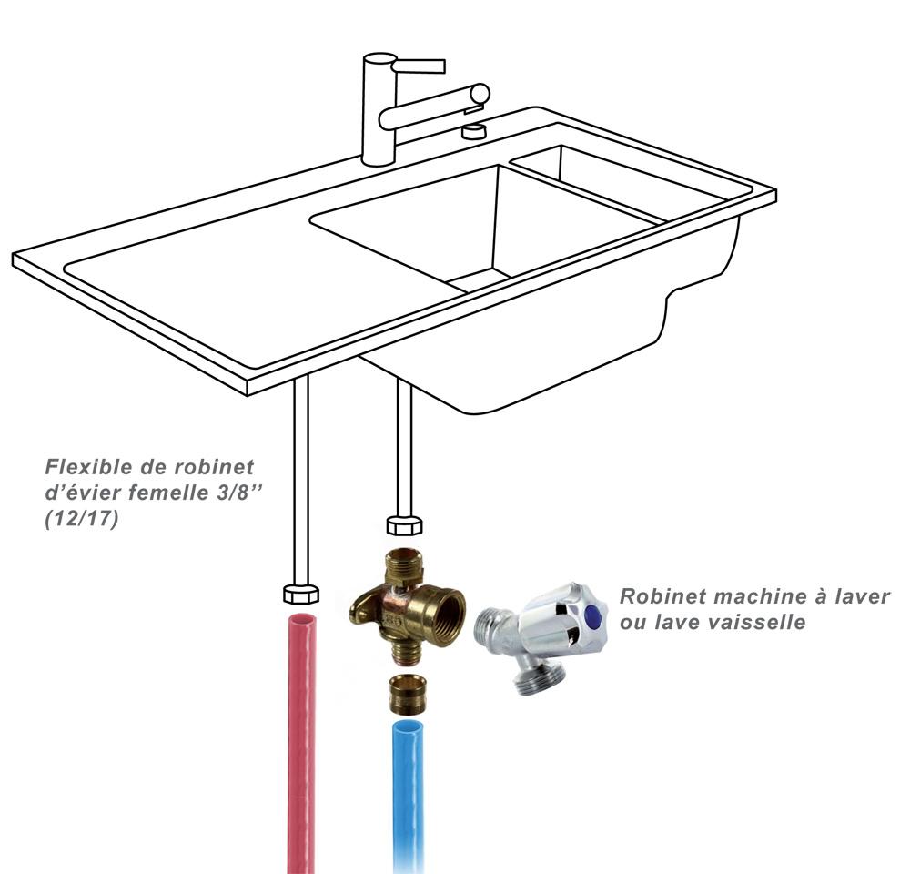 applique machine à laver duo per à glissement Ø16 - Robinet Alimentation Lave Vaisselle