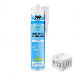 12 cartouches mastic silicone Blanc GEBSICONE W joints sanitaires