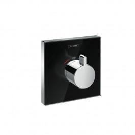 Set de finition en verre pour mitigeur thermostatique ShowerSelect E encastré haut débit noir chrome Hansgrohe