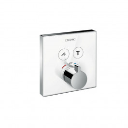 Set de finition en verre pour mitigeur thermostatique ShowerSelect E encastré avec 2 fonctions Hansgrohe  Blanc/Chrome