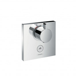Set de finition pour mitigeur thermostatique ShowerSelect E encastré haut débit avec une sortie permanente et un robinet d'arrêt Hansgrohe