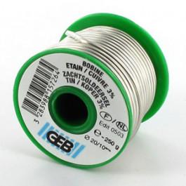 Bobine Fil Soudure Etain/3% cuivre Ø2mm - 250g