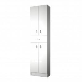 Colonne Salle De Bain Romantic Blanc Brillant 4 Portes 1 Tiroir