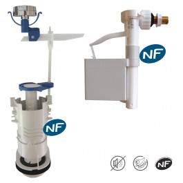 Ensemble NF mécanisme universel SIMPLEX simple débit et robinet flotteur REGIPLAST