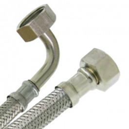"""Flexible sanitaire Inox Ø intérieur 13mm - un coude Femelle 1"""" (26/34) - Femelle écrou libre  1"""" (26/34) - longueur 1,00 mètre"""