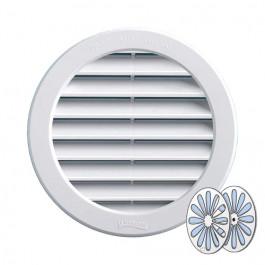 Grille ventilation ronde PVC blanc + fermeture à encastrer FIRST-PLAST