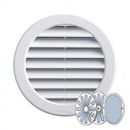 Grille ventilation ronde PVC blanc + moustiquaire + fermeture à encastrer FIRST-PLAST