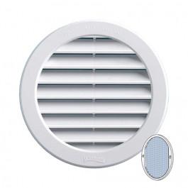 Grille ventilation ronde PVC blanc + moustiquaire à encastrer FIRST-PLAST