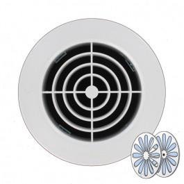 Grille ventilation ronde en PVC + fermeture à encastrer