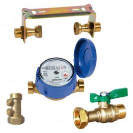Kit compteur eau froide : robinet compteur + clapet antipollution + support