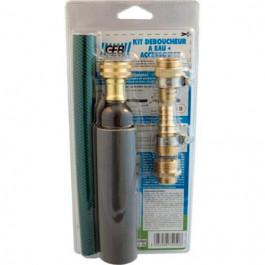 Kit déboucheur à eau + accessoires canalisations diamètre 32 à 40mm