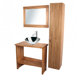 Ensemble meubles de salle de bains hêtre THERIA