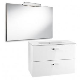 Pack Unik VICTORIA blanc Meuble 800x450mm Miroir Applique 2 LED