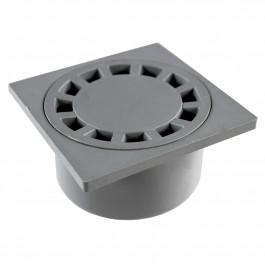 Siphon de sol Polypropylène 150x150mm sortie verticale Ø50-125 - Gris