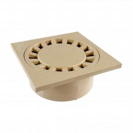 Siphon de sol PVC 250x250mm sortie verticale Ø100 femelle - Sable