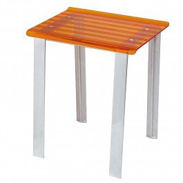 Tabouret de douche LEO orange transparent