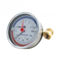 """THERMADOR Manothermomètre AXIAL Mâle 1/2""""- Ø80mm-0 à 4bar-0 à 120°C"""