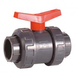 Vanne à sphère PVC-U PN16 pour piscine - à visser - Manette rouge