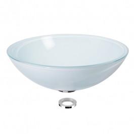 Vasque en verre blanc satiné à poser H14cm - Ø43cm