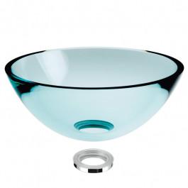 Vasque en verre transparent à poser H14cm - Ø43cm
