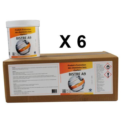 BISTRE A9 Produit d'entretien de cheminée Bois/Charbon - Lot de 6 pots