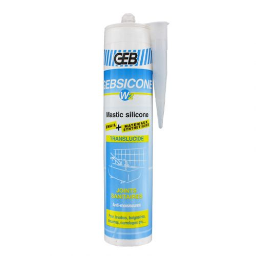 Mastic silicone Translucide GEBSICONE W2 joints sanitaires