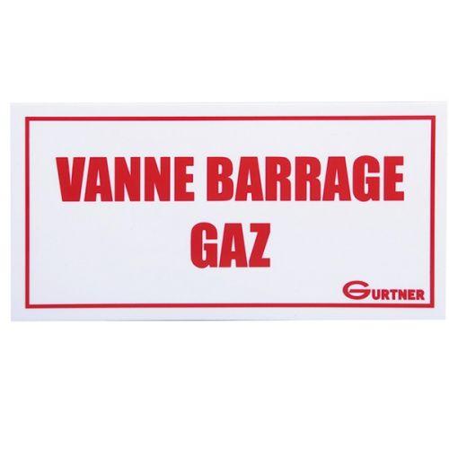 """Plaque signalétique """"Vanne barrage gaz"""" - 200x100 mm"""