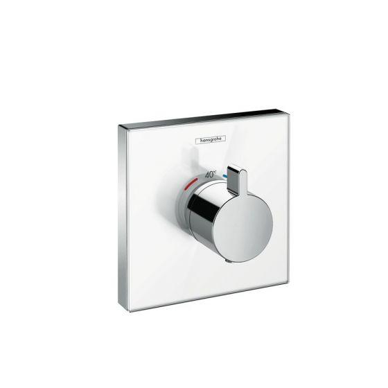 Set de finition en verre pour mitigeur thermostatique ShowerSelect E encastré haut débit blanc chrome Hansgrohe