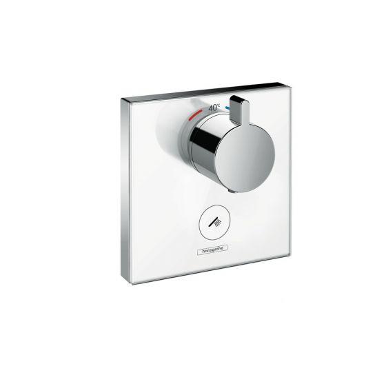 Set de finition en verre pour mitigeur thermostatique ShowerSelect E encastré haut débit avec une sortie permanente et un robinet d'arrêt Hansgrohe