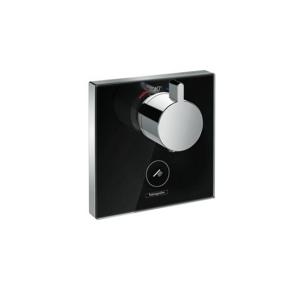 Set de finition en verre pour mitigeur thermostatique ShowerSelect E encastré haut débit avec une sortie permanente et un robinet d'arrêt Hansgrohe Noir/Chrome