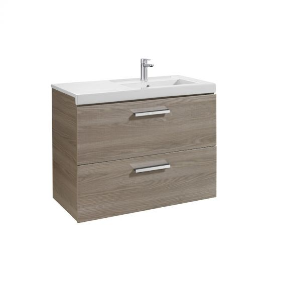 Meuble Unik PRISMA 900mm 2 tiroirs et lavabo à gauche ou droite