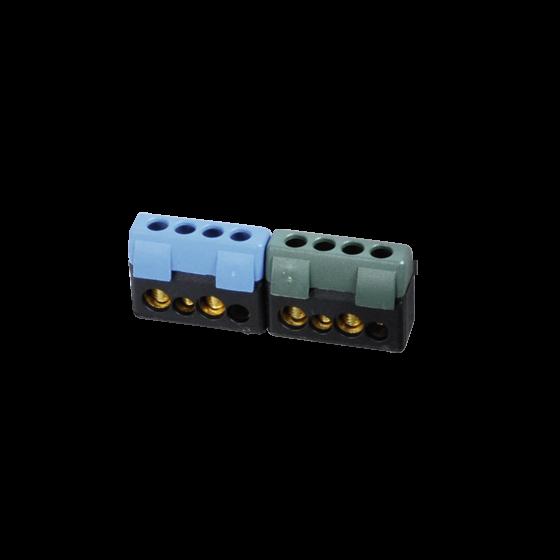 Kit support + 2 borniers bleu/vert (2x10²/2x16²)