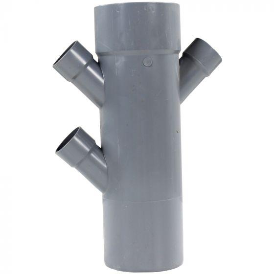 Culotte PVC réduite double parallèle Mâle Femelles 45° Ø100 x 40 x 40 x 40 FIRST-PLAST