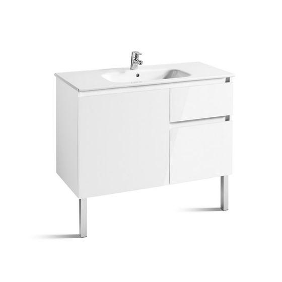 Meuble Unik ANIMA 1000 1 porte, 2 tiroirs asymétrique et lavabo