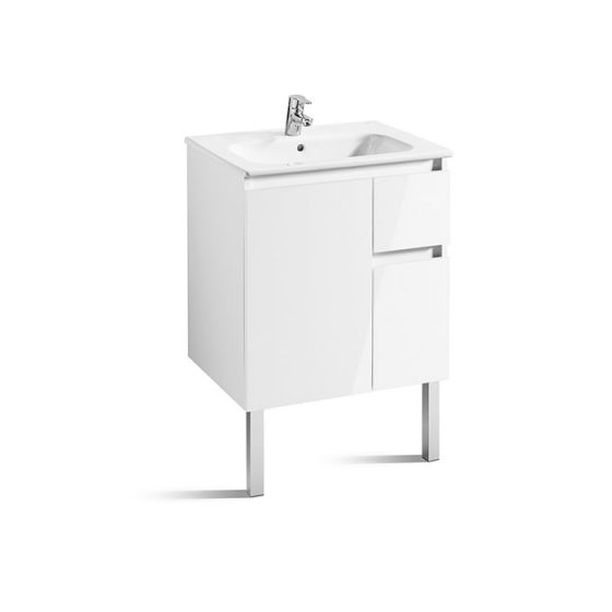 Meuble Unik ANIMA 600 1 porte, 2 tiroirs asymétrique et lavabo