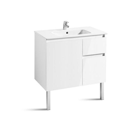 Meuble Unik ANIMA 800 1 porte, 2 tiroirs asymétrique et lavabo
