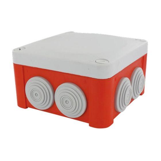 Boite dérivation étanche rouge OPTIBOX tétines IP55 100x100x55mm