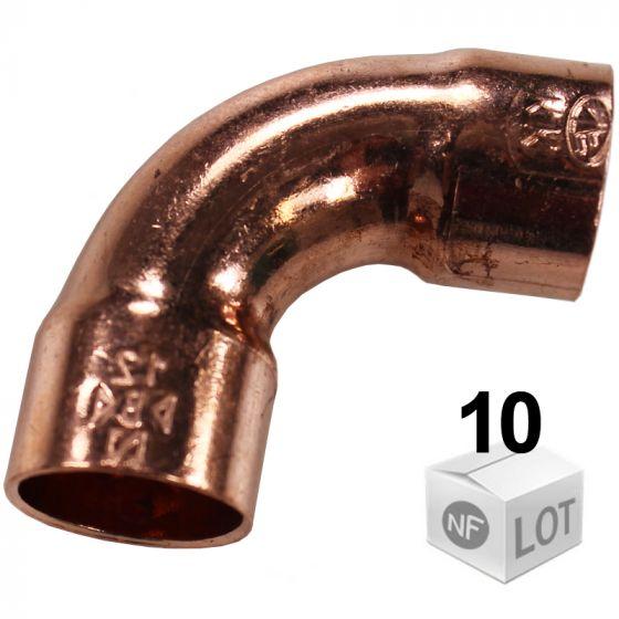 Lot de 10 courbes cuivre à souder Femelle Femelle 90° DISPONIBLE en 6 MODÈLES