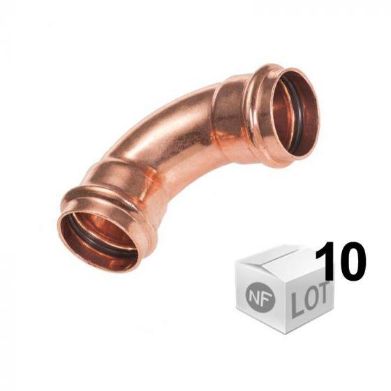 Lot de 10 raccords cuivre à sertir Ø12mm à Ø22mm - Courbe 90° Femelle/Femelle First Plast