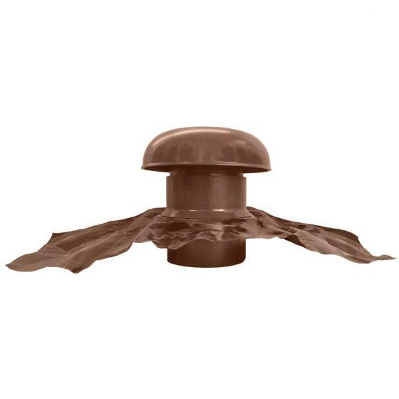 Chapeau de ventilation PVC avec bande plomb - Marron