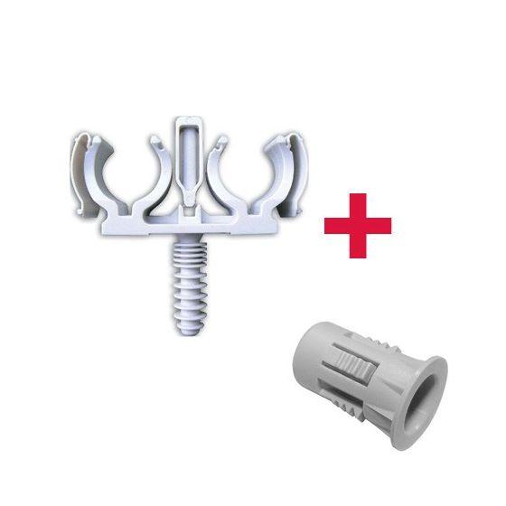 CLIPEO Double BLANC Ø16 + BAGCLIP - Fixation pour tube multicouche