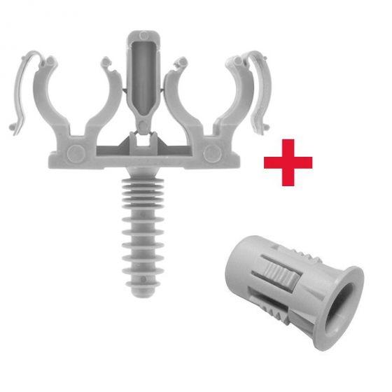 CLIPEO Double GRIS + Bagclip - Fixation pour tube IRL