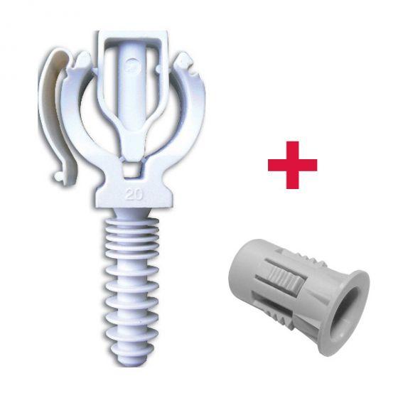 CLIPEO Simple BLANC Ø20 + BAGCLIP - Fixation pour tube multicouche