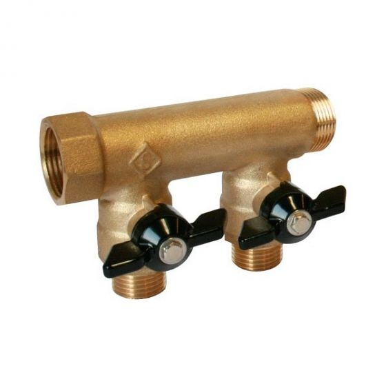 Collecteur à portée plate Ø20/27 2 dérivations – Mini-vannes intégrées