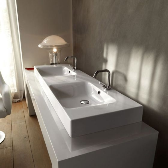 lavabo double vasque cento 140 cm ondyna wce14045. Black Bedroom Furniture Sets. Home Design Ideas