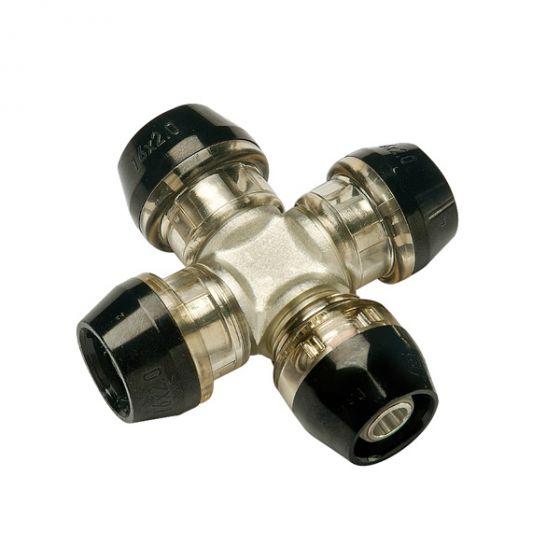 Collecteur Croix 4 circuits push-fit ixPress2 Ø20x2,0 - Ø20x2,0 - Ø16x2,0 - Ø16x2,0