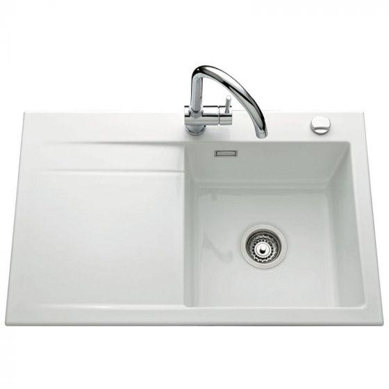 Évier de cuisine Céramique STEMA égouttoir à gauche - L 800 x l 510 x P 200  mm - Blanc
