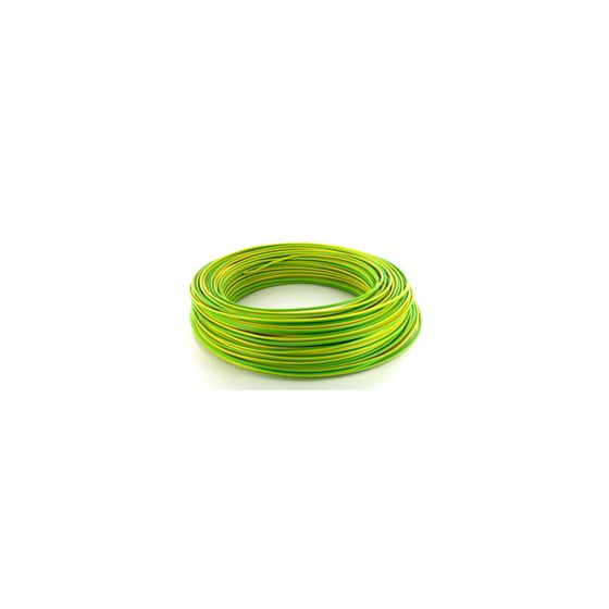 Fil électrique HO7VU 1.5mm² Vert/Jaune en 100m