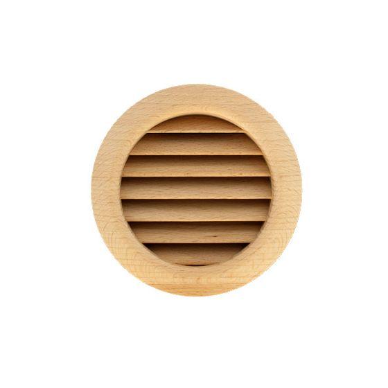 Grille ventilation ronde bois Ø extérieur 110mm - Ø trou 100mm - à encastrer